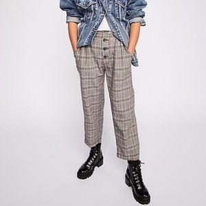 Free People Multicolor Plaid Buttondown Trousers